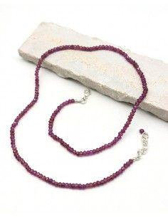 Collier rhodolite taillée - Mosaik bijoux indiens