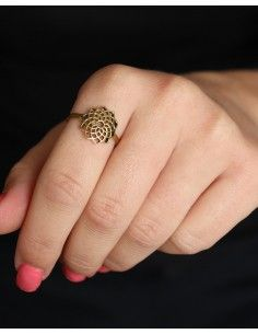 Bague dorée graine de vie - Mosaik bijoux indiens 2