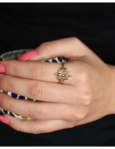 Bague lotus laiton - Mosaik bijoux indiens 2