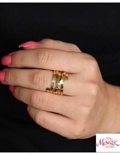 Gros anneau doré en laiton - Mosaik bijoux indiens 2