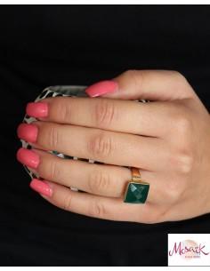 Bague dorée et agate verte - Mosaik bijoux indiens 2