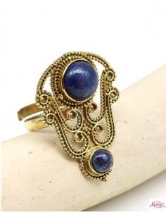 Bague réglable dorée pierre bleue - Mosaik bijoux indiens