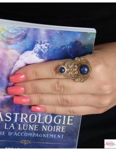 Bague réglable dorée pierre bleue - Mosaik bijoux indiens 2