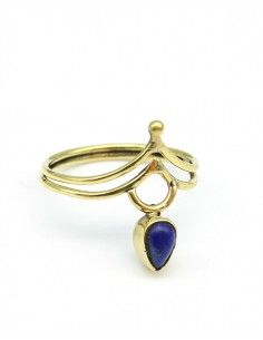 Bague dorée en laiton pierre bleue - Mosaik bijoux indiens