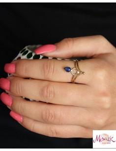 Bague dorée en laiton pierre bleue - Mosaik bijoux indiens 2