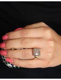 Bague dorée carrée pierre rose - Mosaik bijoux indiens 2