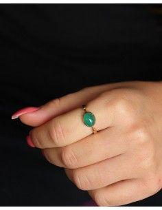 Bague fine dorée et agate verte - Mosaik bijoux indiens 2