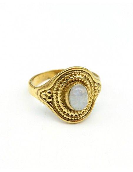 Bague dorée pierre de lune - Mosaik bijoux indiens