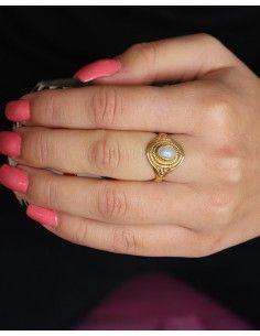 Bague dorée pierre de lune - Mosaik bijoux indiens 2