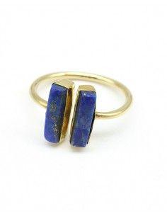 Bague dorée réglable pierres bleues - Mosaik bijoux indiens