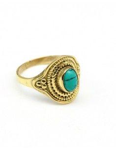 Bague dorée pierre turquoise - Mosaik bijoux indiens