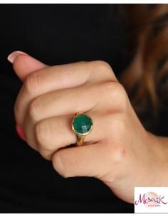 Bague dorée pierre verte taillée - Mosaik bijoux indiens 2