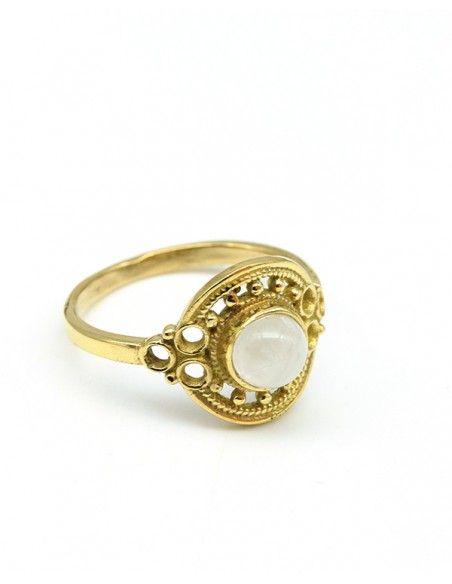 Bague dorée pierre blanche - Mosaik bijoux indiens