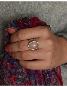 Bague argent et quartz rose 2