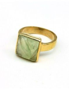 Bague dorée pierre vert pâle - Mosaik bijoux indiens