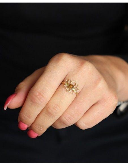 Bague lotus dorée pierre marron - Mosaik bijoux indiens