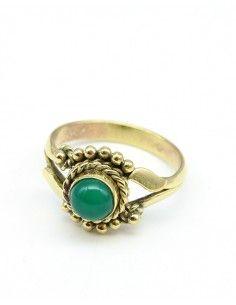 Bague dorée pierre verte - Mosaik bijoux indiens