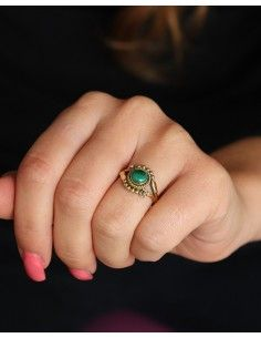 Bague dorée pierre verte - Mosaik bijoux indiens 2