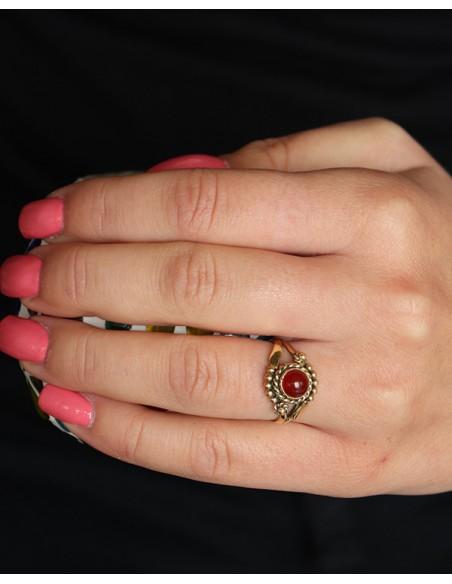 Bague laiton cornaline orange - Mosaik bijoux indiens