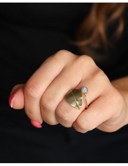 Bague feuille laiton pierre de lune - Mosaik bijoux indiens