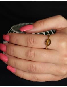 Bague dorée oeil de tigre - Mosaik bijoux indiens 2