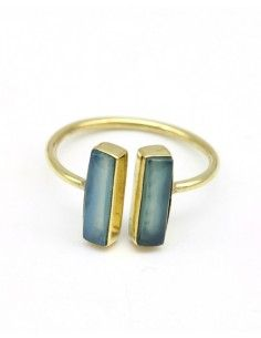 Bague dorée pierre bleue - Mosaik bijoux indiens
