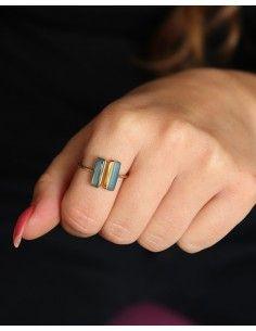 Bague dorée pierre bleue - Mosaik bijoux indiens 2