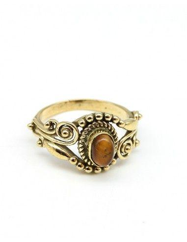 Bague dorée pierre marron - Mosaik bijoux indiens