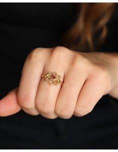 Bague fine dorée pierre rouge - Mosaik bijoux indiens 2