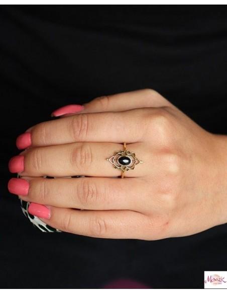 Bague laiton onyx noir - Mosaik bijoux indiens
