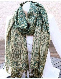 Echarpe verte et beige - Mosaik bijoux indiens