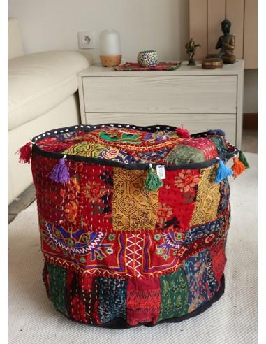 Pouf indien tissus patchwork