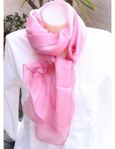 foulard rose pâle soie - Mosaik bijoux indiens
