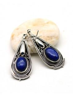 Boucles argent ethnique lapis lazuli - Mosaik bijoux indiens