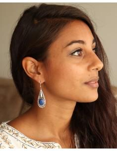 Boucles argent ethnique lapis lazuli - Mosaik bijoux indiens 2