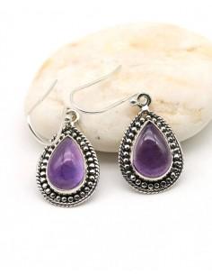 Boucle d'oreille argent pierre violette - Mosaik bijoux indiens