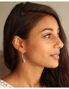 Boucle d'oreille argent pierre violette - Mosaik bijoux indiens 2