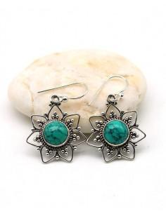Boucle d'oreille argent turquoise - Mosaik bijoux indiens