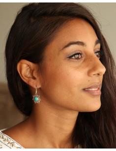 Boucle d'oreille argent turquoise - Mosaik bijoux indiens 2