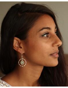 Boucle d'oreille ronde préhnite argent - Mosaik bijoux indiens 2