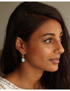 Boucles d'oreilles goutte larimar - Mosaik bijoux indiens 2