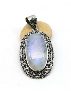 Pendentif argent et grosse pierre de lune blanche - Mosaik bijoux indiens