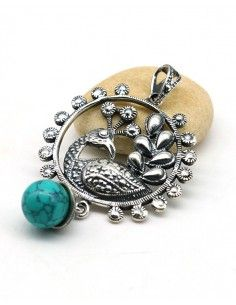 Pendentif paon argent et perle turquoise - Mosaik bijoux indiens