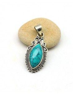Pendentif turquoise en argent - Mosaik bijoux indiens