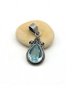 Pendentif topaze bleue en argent  - Mosaik bijoux indiens