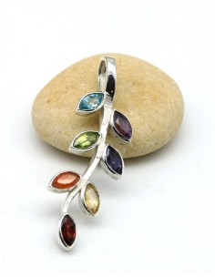 Pendentif argent 7 chakras - Mosaik bijoux indiens