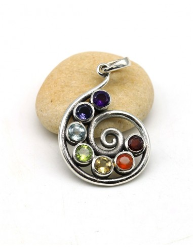 Pendentif 7 chakras argent - Mosaik bijoux indiens