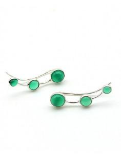 Boucle d'oreille argent 3 pierres vertes - Mosaik bijoux indiens