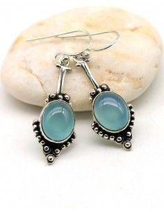 Boucle d'oreille pierre bleue - Mosaik bijoux indiens