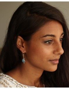 Boucle d'oreille pierre bleue - Mosaik bijoux indiens 2